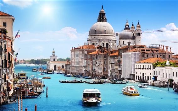 Fondos de pantalla Venecia en el verano, canal, casas, barcos