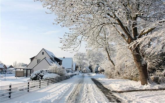 Papéis de Parede Vila paisagem de neve da cidade, a neve espessa, estrada, casas, árvores