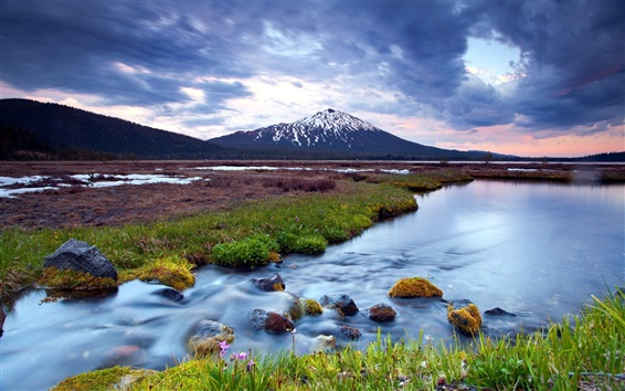 Wallpaper Wetland landscape, sunset, river, snow-capped mountains, cloudy sky