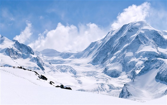 Wallpaper Winter snow-capped mountains, thick snow, white world