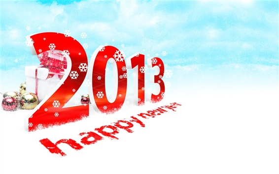 Wallpaper 2013 New Year Happy, snow, gift