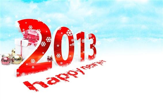 Fondos de pantalla 2013 Feliz Año Nuevo, nieve, regalo