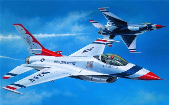 Wallpaper Art painting, air fighter aerobatics