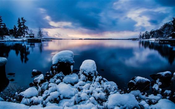 Wallpaper Beautiful night snow, Stockholm, Sweden, calm lake, cold winter, blue sky