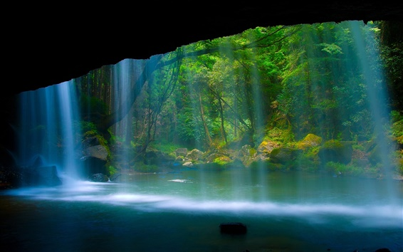 Wallpaper Beautiful scenery, waterfall, river, forest, rock