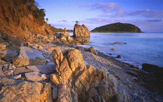 Papéis de Parede Caribe lado pedras, pôr do sol, sol, mar