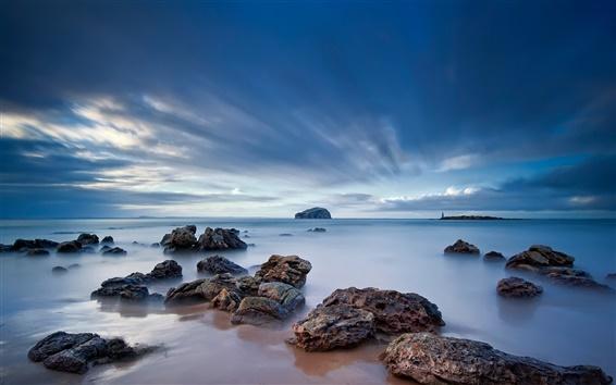Papéis de Parede Costa, rochas, crepúsculo, nuvens escuras, o mar