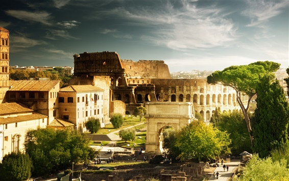 Wallpaper Colosseum, Italy Rome, Arch of Constantine, hot tourist city