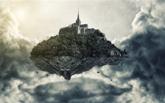Обои Искусство фотографии, летающий остров, замок, облака