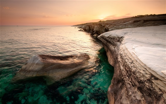 Wallpaper Cyprus beautiful scenery, sea, coast, orange sky, dusk sunset