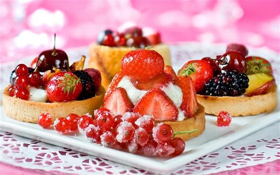 Wallpaper Delicious dessert cake, strawberry cherry berries