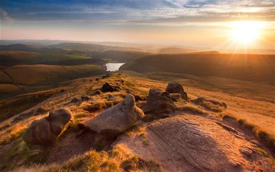 배경 화면 영국, 맨체스터, 아름다운 풍경, 산, 석양