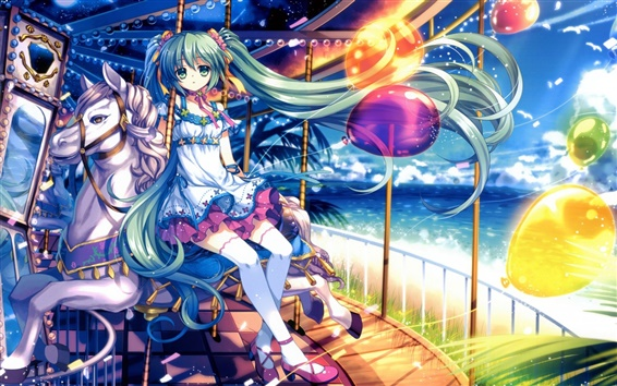 Wallpaper Green hair anime girl sitting on the merry-go-round