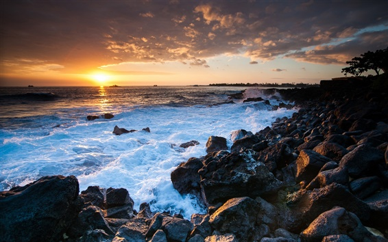 Wallpaper Hawaii ocean sunset, rocks, coast
