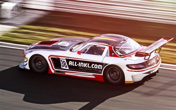 Wallpaper Mercedes-Benz supercar in race, high-speed