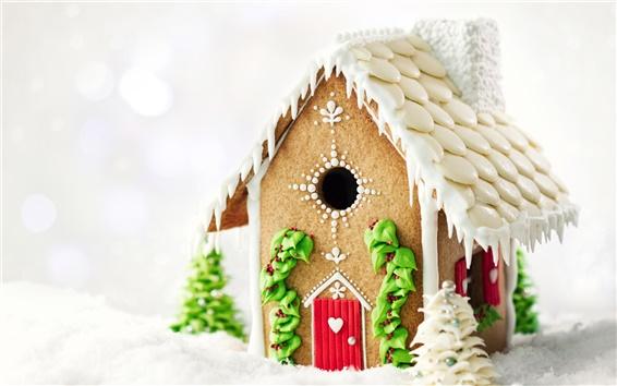 Fond d'écran Nouvel An décorations de fête, maison belle neige