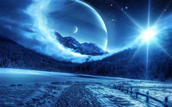 Обои Картинки красивые креативный дизайн, лес, зима, планета, космос