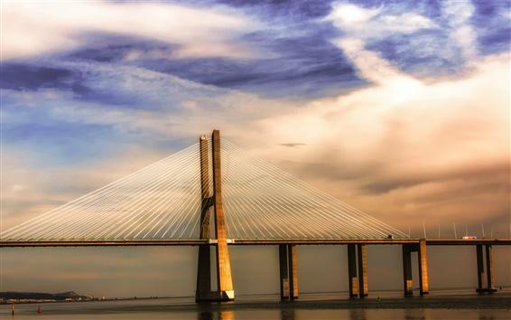Fondos de pantalla Portugal Lisboa río Tajo, puente, puesta del sol