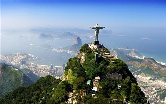 Wallpaper Rio, Brazil, statue, city, mountains, clouds
