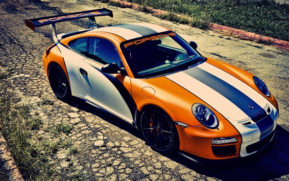 Wallpaper Sport car, Porsche 911 GT3, orange and white color