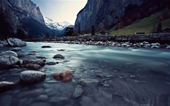 Wallpaper Switzerland, Lauterbrunnen, beautiful landscape, river, rocks, mountains, houses