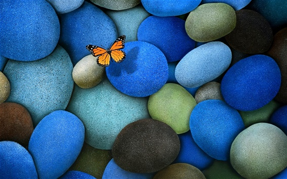 Wallpaper The blue cobblestone, butterfly