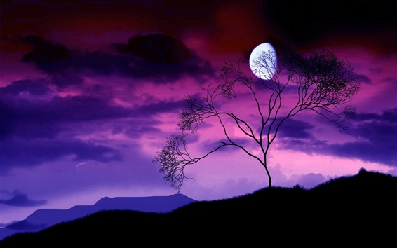 Wallpaper Tree branches, the moon at night, purple sky