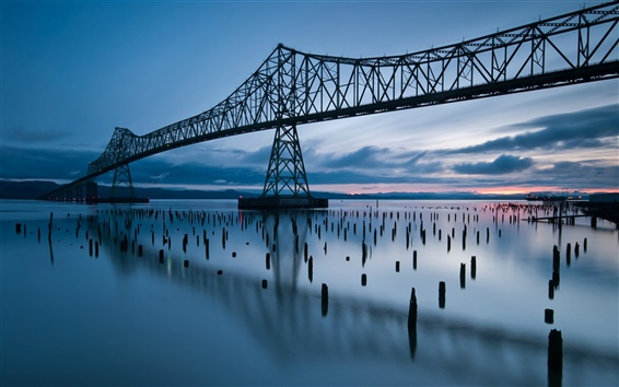 Wallpaper United States, Oregon, bridge, river, dusk, sunset, blue style