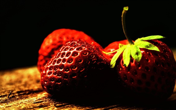Wallpaper Vitamin-rich fruit, strawberry close-up photography