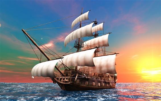 Wallpaper 3D creative design pictures, sailboat, dawn, the sea