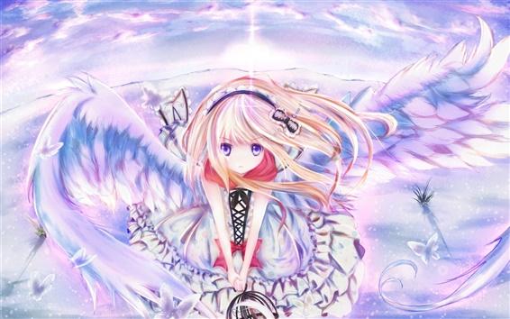 Wallpaper Anime girl wings, sky, flying, butterfly hairpin