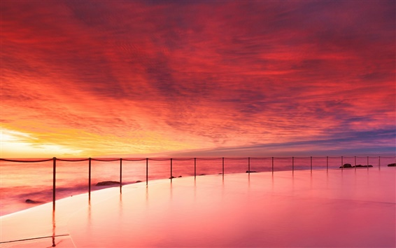 Wallpaper Australia ocean beach, pool, evening sunset, red sky, clouds