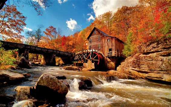 Wallpaper Autumn of nature, water tankers, Mill, creek, river, rocks