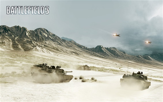 Wallpaper Battlefield 3, tanks and fighters in the war