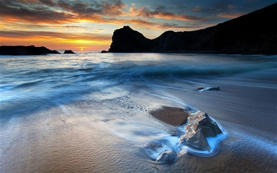 Fondos de pantalla Hermosa HD costa paisaje, puesta de sol, las rocas, mar, playa