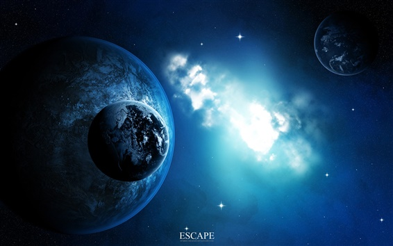 Wallpaper Blue space, the close proximity of the two planets