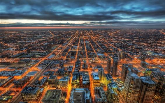 壁紙 シカゴ、イリノイ、アメリカ、ビル、高層ビル、夜景
