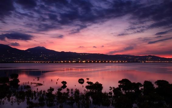 Fond d'écran Chine, Taiwan, la côte du détroit, aube, lever du soleil, ciel rose nuages