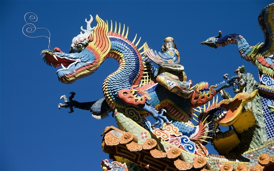 Wallpaper China building, dragon and phoenix carving art