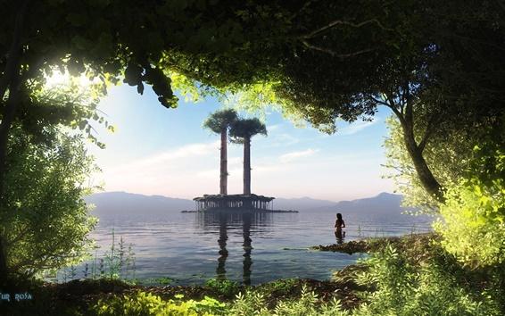 Wallpaper Creative arts, nature, paradise, scenery, lake, island, green leaves, girl