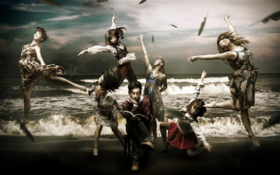 Wallpaper Creative pictures, the book's beautiful girls, dance, the sea