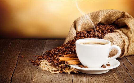 Fond d'écran Tasse de café, boissons, café, cannelle, soucoupe