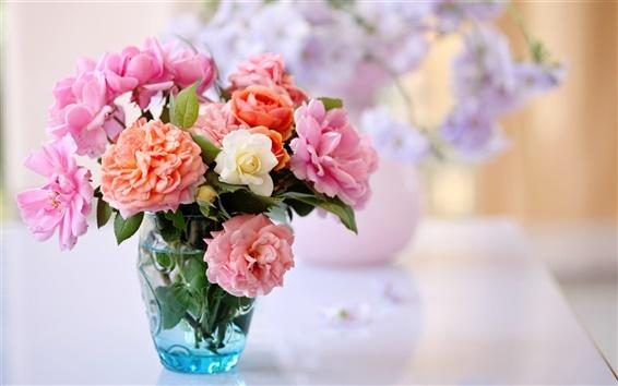 Wallpaper Desktop still life, roses, vase flower arrangement