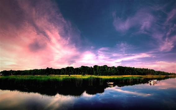 Fond d'écran Des vues fantastiques sur le lac, calme, bateaux, plantes, arbres, nuages, ciel violet