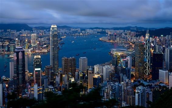 Wallpaper Hong Kong landscape, city buildings, cloudy morning