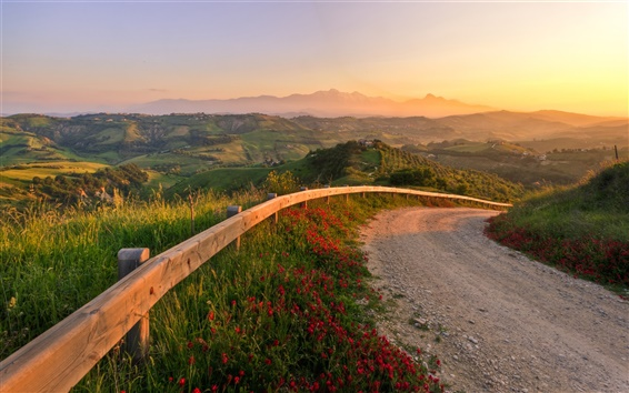 Papéis de Parede Itália, pôr do sol, paisagem fabulosa, estrada, montanhas, natureza