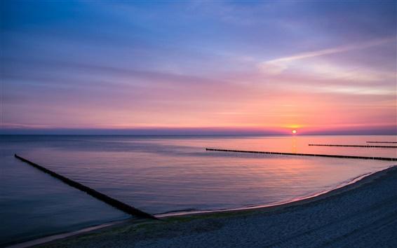 Wallpaper Lake, shore, sunset, dusk, purple sky views
