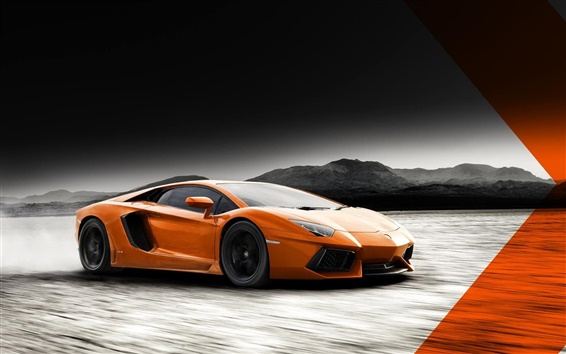 Wallpaper Lamborghini Aventador LP700-4 orange color supercar
