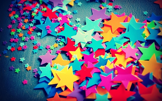 Wallpaper Large and small, five-pointed star, colorful of colors