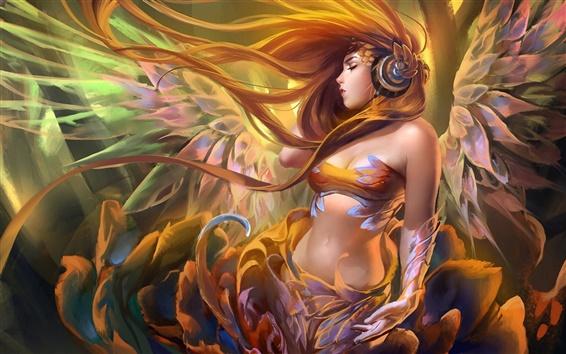 Wallpaper Long hair fantasy girl listening to music, angel wings